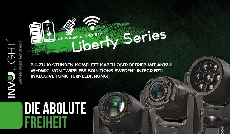 Die neue Liberty Serie aus dem Hause Involight. Mit Akku auszustattende Movingheads für den Gebrauch ganz ohne Kabel
