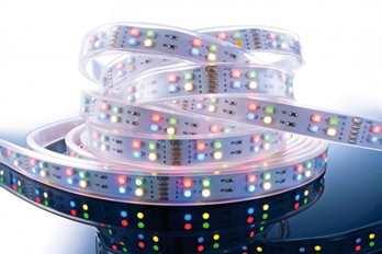 LED Stripe RGB+WW 5m 12V IP65 720 LEDs  LED Farbe RGB + Warmweiß Wellenlänge 463 ~ 625 nm Farbtemperatur 2900 - 3100K Lumen/Strip 180/900 LEDs m / Stripe 144/720 LED Typ SMD 3528 Abstrahlverhalten LED 120°   Gehäuse Material / Eigenschaft Silik