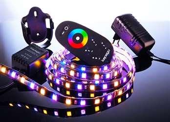 LED MixIt Set RF RGB+WW 4,0 Meter 240 LEDs  Dieses LED Set hat einen Klebestreifen auf der Rückseite und eignet sich wunderbar für Ihr Wohnzimmer um z.B. hinter dem Fernseher eine Atmosphäre zu schaffen. Mit der Fernbedienung kann man bequem die F