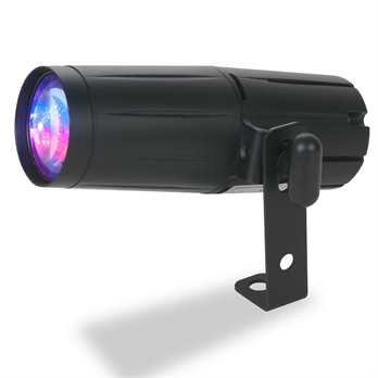 Pinspot LED Quad DMX  Der Pinspot LED Quad DMX von ADJ ist ein 8-Watt Quad (4-IN-1) Pinspot mit roten, grünen, blauen und weißen Dioden in einer LED. Er erzeugt scharfe Lichtstrahlen mit 15 Grad und wurde für die Beleuchtung von Tischen, Dekoration,