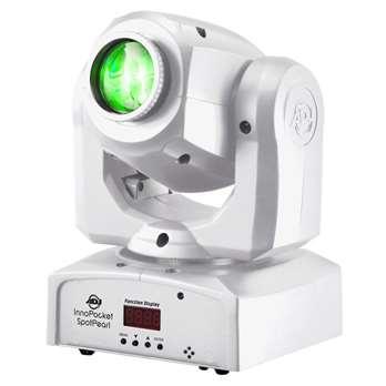 Inno Pocket Spot PEARL  Der Inno Pocket Spot ist ein Mini-Moving Head mit einer hellen LED-Leuchtquelle mit 12 Watt. Seine kompakte und leichte Konstruktion macht ihn zum perfekten Gerät für mobile Entertainer, kleine Clubs und Bars, Rollschuhbahnen