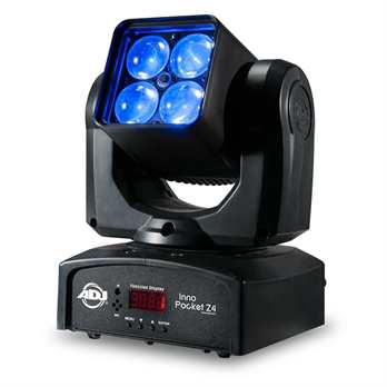 Inno Pocket Z4 4x10W RGBW Washer  - High output mini Moving Head with a bright 4 x 10W Quad RGBW LED source - 3 Operational modes: DMX Control, Sound Active Mode & Show Mode - 3 DMX Channel Modes: 16/19/22 - 4 Built-in shows - Stand Alone Set Up or M