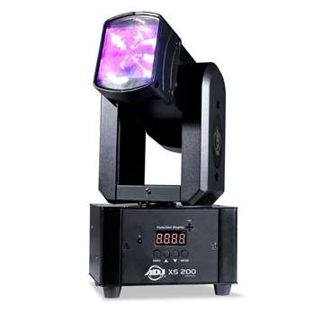XS 200 Moving Light 2x 10Watt RGBW LED  Der XS 200 von ADJ ist eine völlig neuartige Entwicklung im Bereich Moving Lights. Er besteht aus einem einzelnen Axis-Kopf, der sich in beide Richtungen um 360 Grad drehen lässt. Die 2 x 10-Watt-LEDs des XS 20