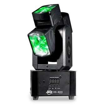 XS 400 LED Moving Head 4x10 Watt RGBW  Der ADJ XS 400 ist eine Revolution im Bereich der Moving Head. Er besticht durch seine beiden, sich permanent um 360 Grad drehbaren Achsen. Auch ein Richtungswechsel ist kein Problem.   Eigenschaften des ADJ X