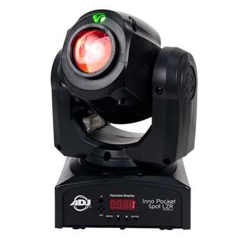 Inno Pocket Spot LZR  Der Nachfolger von einem der Meist verkauftesten Movingheads von ADJ ist jetzt endlich da. Der Inno Pocket Spot LRZ. Das Gerät ist mit einem 12 Watt LED Leuchtmittel ausgesattet und hat zusätzlich noch einen 30mWatt grünen Laser