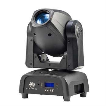 Focus Spot ONE, 35 Watt LED und 3 Watt UV LED Der Focus Spot One von American DJ ist ein Leistungsstarker kopfbewegter Scheinwerfer mit 35W Kaltweiß-LED und einer 3W-UV-LED. Er füllt mit seinen Effekten und leuchtenden Farben sehr gut große Räume aus