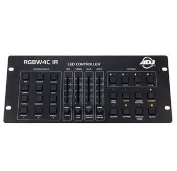 RGBW4C IR 32-Kanal-DMX-Controller  Der RGBW4C IR ist ein 32-Kanal RGB, RGBW oder RGBA LED-Controller. Er ist für die Steuerung von 3 oder 4-Kanal-Gruppen von LED-Geräten konzipiert, bei denen Kanal 1 rot, Kanal 2 grün, Kanal 3 blau und Kanal 4 weiß o