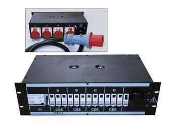 Stromverteilung PDP-3/S  Eigenschaften: - stabiles Stahlblechgehäuse 3 HE - Leitungsschutzschalter in C-Charakteristik 16A und 32A - Eingebauter FI-Schalter 4-pol. 63A/ 0,03 A (made in Germany) - 3 Phasen Kontrolleuchten - Außenliegende Edungsschraub