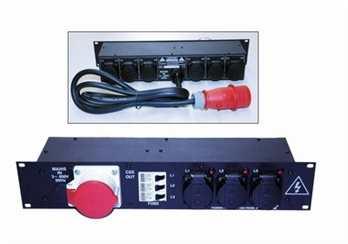 Stromverteiler PDP-2/16 - stabiles Stahlblechgehäuse 2HE - 3 Leitungsschutzschalter in C-Charakteristik 16 A (made in Germany) - 3 Phasen Kontrolleuchten - Alle verwendeten Steckverbindungen in hochwertiger Qualität - Intregierte Schukosteckdosen Eingang: