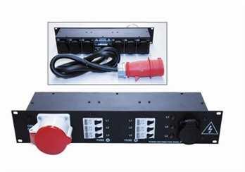 Stromverteilung PDP-1 32 Ampere auf 6 Schuko - stabiles Stahlblechgehäuse 2 HE - 6 Leitungsschutzschalter in C-Charakteristik 16A (made in Germany) - 3 Phasen Kontrolleuchten - Alle verwendeten Steckverbindungen in hochwertiger Qualität - Integrierte