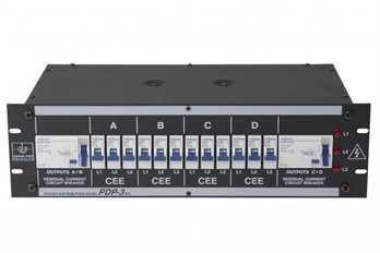"Stromverteiler PDP-3/DFI63-16  Eigenschaften: stabiles 19"" Stahlblechgehäuse 3HE Leitungsschutzschalter in C-Charakteristik 16 A (Made in Germany) 2x eingebaute FI-Schalter 4-pol. 40 A/0,03 A (Made in Germany) 3 Phasen Kontroll-Leuchten Außenliegende"