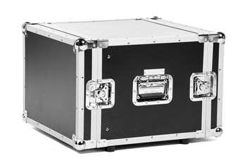 8 HE Case, Double Door Rack mit Schrauben  Für den sicheren Transport von Endstufen, Dimmerpacks, Einbauschubladen, CD-Playern und allen19 Zoll Einbaufähigen Geräten mit einer Einbautiefe von weniger als 48cm. Durch die Rackschienen vorne und h