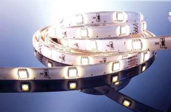LED Stripe WW 3m 24V IP55 90 LEDs  LED Farbe: Warmweiß Wellenlänge: - Farbtemperatur: 2800-3200K Lumen m/Stripe: 360-423 / 1080-1270 LEDs m/Stripe: 30 / 90 LED Typ: SMD 5050 Abstrahlverhalten LED: 120°   Gehäuse Material/Eigenschaft: flexibel F