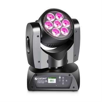 AUROBEAM 150 - 7 x 15 W RGBW LED Unlimited  Der Cameo AuroBeam 150 ist ein ultraschneller Moving Head mit unbegrenzter Pan- und Tilt-Bewegung, 16-Bit-Auflösung und 3.600 Hz Wiederholrate. Sieben 15 Watt starke Quad-LEDs erzeugen satte RGBW-Farben,