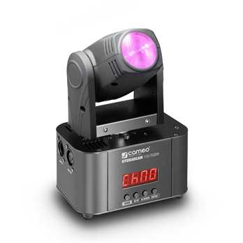 Hydrabeam 100 RGBW, 10 Watt Moving Head  Der neue Movinghead von Cameo ist mit einer 10 Watt starken Quad LED von Cree entwickelt worden und ist somit sehr hell. Das Gerät kann eine Pan Bewegung von bis zu 540 Grad und eine Tilt Bewegung von bis zu