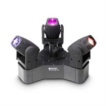 Hydrabeam 300 RGBW, 3 RGBW Moving Heads  Ein spektakuläres Moving Head Set von Cameo ganz neu im Programm: 3 ultraschnelle Movingheads sind auf einer dreieckigen Basis montiert und können über Stand Alone, Master Slave mit 16 Betriebsarten oder übe