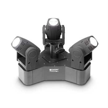 Hydrabeam 300 W,3 Ultraschnelle Moving Heads  Die neue Cameo Technologie: 3 Movingheads die mit weißen LEDs mit je 10 Watt ausgestattet sind (Lumi-Engin-LEDs) sind in einem 3 Eck angeordnet. Die Moving Heads können mit DMX angesteuert werden und kö