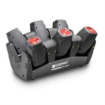 Hydrabeam 600 RGBW, 6er Movinghead Leiste  Cameo Neuheit Juli 2016: Das HydraBeam 600 RGBW Lichtsystem besteht aus 6 sehr sehr schnellen 10 Watt Cree Quad LED Kopfbewegten Scheinwerfern. Diese Moving Heads projizieren scharfe Strahlen mit einem Abs