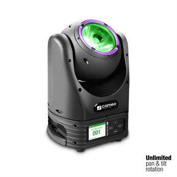 MOVO BEAM100, 60 Watt Osram LED  Der MOVO® BEAM 100 von Cameo ist ein Beam Moving Head mit einem LED Ring und einer Endlosen Drehung. Er ist Sehr schnell und leistungsstark. Mit seiner extrem hellen 60 Watt Osram RGBW LED projiziert er einen sehr s