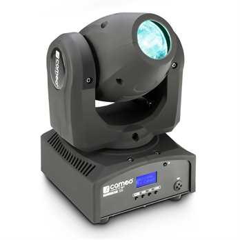 NanoBeam 300, 30 Watt Cree LED, RGBW Mini Moving Head mit IR Fernbedienung  Der neue kleine Movinghead von Cameo mit 8,11 oder 14 Kanälen im DMX Modus ansteuerbar hat jetzt einen endlosen Pan Betrieb und einen 230° Tilt Betrieb, somit kann das Gerä