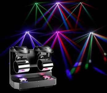 NanoRoll 200, 2er LED Walzeneffekt  Der neue NanoRoll 200 aus dem Hause Cameo ist ein Scannereffekt mit 2 Scannern die je mit einer Spiegelwalze die sich drehen kann ausgestattet ist. Das Gerät hat eine Leistung von 2x 10 Watt RGBW (rot, grün, blau