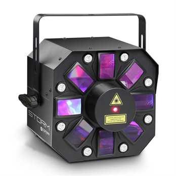 STORM - 3 in 1 Lichteffekt, 5 x 3W RGBAW +++ Derby, Strobe und Graing Laser +++  Der STORM von Cameo Light vereint Derby-Effekt, Laser und Stroboskop in einem Scheinwerfer. Er kann über 10 DMX-Kanäle, automatisch oder Musik gesteuert und als Ma