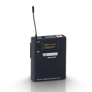 Sweet SixTeen B5 - Belt Pack Sender  Das Beltpack ist für den Anschluß Ihrer Gitarre, Ihres Lavalier Mikros oder dem Headset mit 3poligen Mini XLR Verbindern geeignet um das Signal damit zu einem Swwet SixTeen Empfänger zu übertragen. Mit 2 Mi