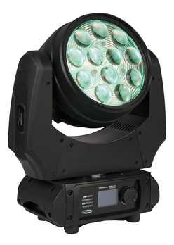 Phantom 120 LED Wash Movinghead  Dieser neue Phantom 120 Wash von Showtec ist ein Moving Head mit RGBW-Wash und motorisiertem Zoom Funktion. Das Gerät hat eine hochwertige Linse mit RGB-Backlight-Funktion, wodurch der User den Washeffekt mit den