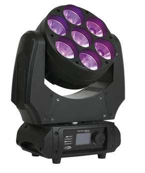 Phantom 70 LED Beam Movinghead  Der Neue RGBW Moving Head aus der Phantom Serie von Showtec. Das Gerät hat sieben 60mm Linsen und eine 5 Grad Optik. Die Kombination aus großen Linsen mit einem schmalen Strahlungswinkel und Farbmischung macht den