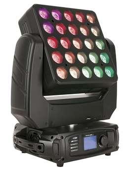 Phantom 300 LED Matrix 25x10 Watt Leistung  Neuheit aus der Phantom Serie von Showtec: Der Phantom 300 LED Matrix (Moving Head mit einer 5x5 Das Gerät hat 25x10RGBW LEDs und eine 15 Grad Optik. Kompaktes Gerät mit einem 27x27cm großen Kopf, sowie