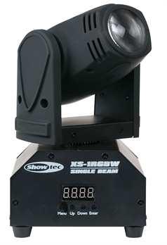 XS-1RGBW Mini Moving Beam  - Schmale starke RGBW-Strahlen - Kompaktes Gehäuse - Dynamische Programme - 1 Schellenhalterung  Ausgabe Strahlungswinkel: 3° Lichtquelle: 1x10 RGBW  Elektrik Eingangsspannung: 100-240 VAC, 50/60Hz Leistungsaufnahme: