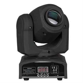 Kanjo Spot 10 Movinghead mit 10 Watt LED  Der Kanjo Spot 10 ist ein ultrakompakter beeindruckender Moving Head mit einer 10W-LED. Es ist mit einem Farb- und Goborad ausgestattet und projiziert scharfe Gobos und intensive Farben zu einem günstigen