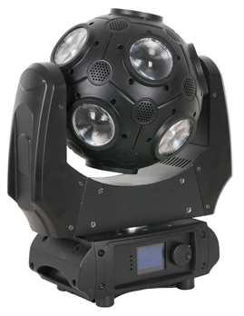 Galaxy 360 Movinghead mit 12x9 Watt LEDs  Aus der Showtec Serie: Galaxy 360, wie der Name schon sagt ist eine 360 Grad Drehung in alle Richtungen möglich. Wie in alten Zeiten aber mit modernster Technik eine Moving Head mit rotierender Kugel welc