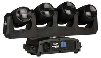 Shooter 360  Der Showtec Shooter 360 macht jede Show zu etwas ganz Besonderem. Dieses dynamische Effektlicht besteht aus vier unabhängig ansteuerbaren Moving Heads mit 12W RGBW-LEDs auf einer einzigen rotierenden Basis. Mit den messerscharfen Str