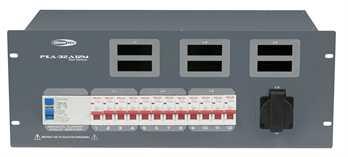PSA-32A12M 32A CEE zu 6xSchuko, 2xMultipin  Von der Showtec PSA Stromverteilerserie, der 32 Ampere Verteiler mit 1x 32 Ampere CEE Eingang an der Rückseite mit 1,5 Meter Kabel auf eine Verteilung von 6x 16 Ampere Schukodosen auf der Rückseite sowi