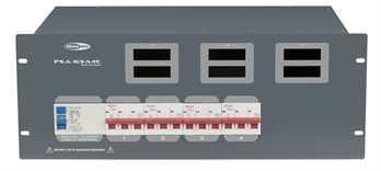PSA-63A4C 63A CEE auf 4x 32A CEE  Von der Showtec PSA Stromverteilerserie, der 63 Ampere Verteiler mit 1x 63 Ampere CEE Eingang an der Rückseite mit 1,5 Meter Kabel auf eine Verteilung von 4x 32 Ampere CEE auf der Rückseite. Schützen Sie Ihr Equi